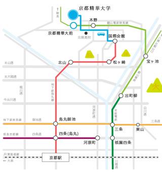 京都精華大学への地図